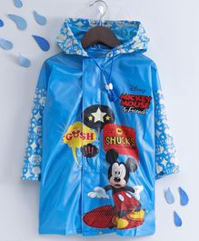 Babyhug Raincoat Glittery Mickey Mouse Print - Blue