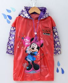 Babyhug Full Sleeves Hooded Raincoat Minnie Mouse Print - Red