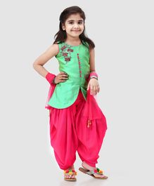 Babyhug Sleeveless Embroidered Patiala Suit With Dupatta - Mint Green Fuchsia