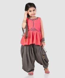 1a99c76983706 Babyhug Sleeveless Ethnic Wear Kurti   Patiala Pants With Dupatta - Orange