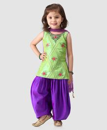 Babyhug Sleeveless Kurti And Patiala With Dupatta Floral Embroidery - Green Purple