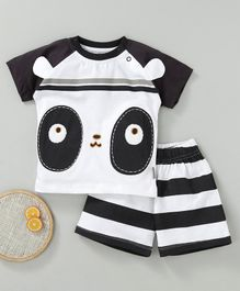 NOQ NOQ Face Detailed Half Sleeves Tee & Shorts Set - Black & White