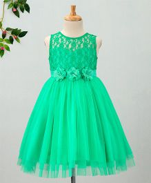 Toy Balloon Floral Lace Work Sleeveless Net Dress - Green