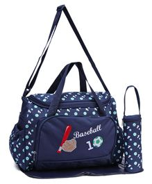 Diaper Bag With Changing Mat Base Ball Print - Navy Blue