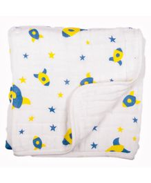 Chotto To The Stars & Back Cotton Muslin Mini Baby Blanket - White