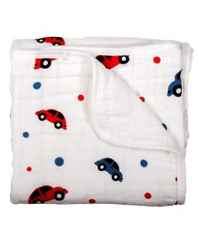Chotto Vroom Vroom 4 Layer Cotton Muslin Mini Baby Blanket - White