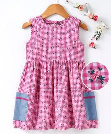 Pspeaches Sleeveless Micro Checked & Flower Print Dress - Pink
