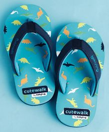 Cute Walk by Babyhug Flip Flops Dino Print - Blue