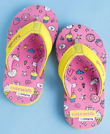 Cute Walk by Babyhug Flip Flops Multiprint - Pink