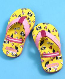 Cute Walk by Babyhug Flip Flops With Back Strap Multiprint - Yellow