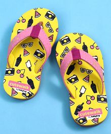 Cute Walk by Babyhug Flip Flops Multiprint - Yellow