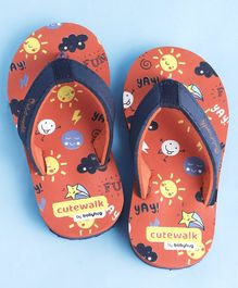 Cute Walk by Babyhug Flip Flops Multiprint - Orange