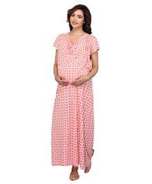 edeb99764a4c6 Kriti Half Sleeves Maternity & Nursing Nighty Floral Print - Peach