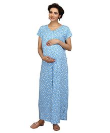 Kriti Half Sleeves Maternity & Nursing Nighty Honey Bee Print - Sky Blue