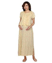 c2a4230ebce48 Kriti Half Sleeves Maternity Nighty Floral Print - Light Yellow