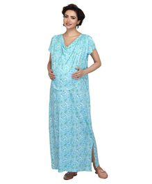 Kriti Half Sleeves Maternity Nighty Floral Print - Light Blue