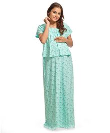 9f6967b0e Kriti Half Sleeves Maternity   Nursing Nighty Dandelion Print - Mint Green