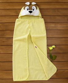Babyhug Hooded Cotton Towel Puppy Design - Yellow