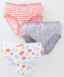 f344457689286 Babyoye Cotton Striped Panties Star & Cloud Print Pack of 3 - Peach Grey  White