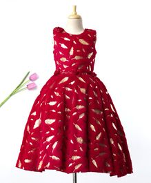 Enfance Foil Leaves Print Sleeveless Gown With Belt - Red
