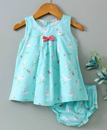 Dew Drops Sleeveless Frock With Bloomer Bunny Print - Sea Green