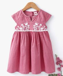 Babyhug Cap Sleeves Frock Floral Embroidery - Pink