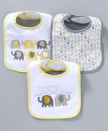 Mee Mee Absorbent Weaning Bibs Elephant Print Set of 3 - White Grey