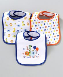 Mee Mee Absorbent Weaning Birthday Print Bibs Set of 3 - White Blue
