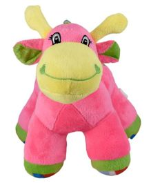 Ultra Giraffe Soft Toy With Rattle Sound Pink - Height 22.8 cm