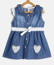 Kids On Board Heart Applique Cap Sleeves Dress - Blue