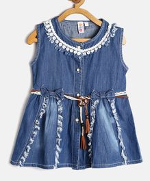 Kids On Board Front Open Sleeveless Dress With Lace Detailing - Blue