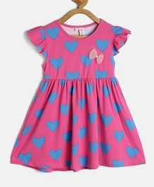 Kids On Board Hearts Print Cap Sleeves Dress - Pink