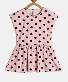 Kids On Board Polka Dot Print Cap Sleeves Peplum Style Dress - Pink