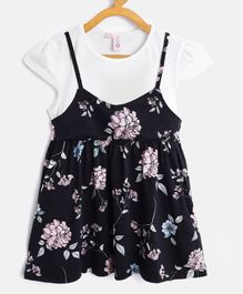 Kids On Board Floral Print Cap Sleeves Dress - Black