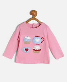 Kids On Board Tea & Muffin Applique Full Sleeves Top - Pink