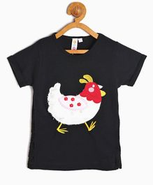 Kids On Board Hen Patch Half Sleeves Top - Black
