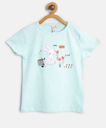 Kids On Board Rabbit Patch Half Sleeves Top - Green