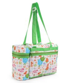 Morisons Baby Dreams Diaper Bag With Attached Double Bottle Warmer - White Green