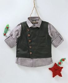 Rikidoos Solid Full Sleeves Shirt With Waistcoat - Green & Grey