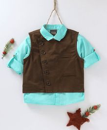 Rikidoos Solid Full Sleeves Shirt With Waistcoat - Blue & Brown