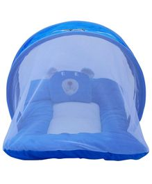 Litte Hug Mattress Set With Mosquito Net Bear Design - Blue