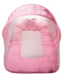 Litte Hug Mattress Set With Mosquito Net Bear Design - Pink