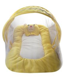 Litte Hug Mattress Set With Mosquito Net Bear Design - Yellow