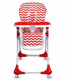 LuvLap High Chair with Adjustable Food Tray Chevron Print - Red