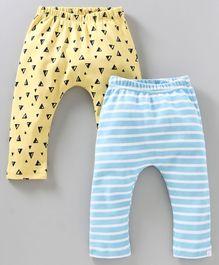 6026b7d9c Babyoye Full Length Striped Cotton Printed Diaper Leggings Pack of 2 -  Yellow Blue