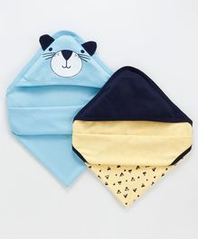 Babyoye Cotton Hooded Wrappes Pack of 2 - Yellow Blue