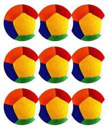 O Teddy Big Soft Toy Ball Pack of 9 Multicolour - 11 cm