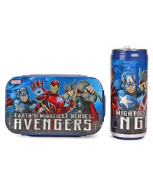 Marvel Avengers Combo Of Insulated Lunch Box and Water Bottle - Blue Red