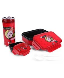 Disney Minnie Mouse Combo Of Insulated Lunch Box and Water Bottle - Red