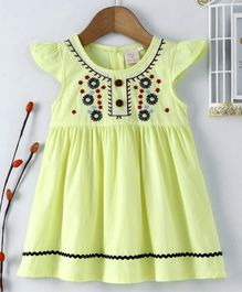 Smile Rabbit Cap Sleeves Frock Floral Embroidered - Yellow